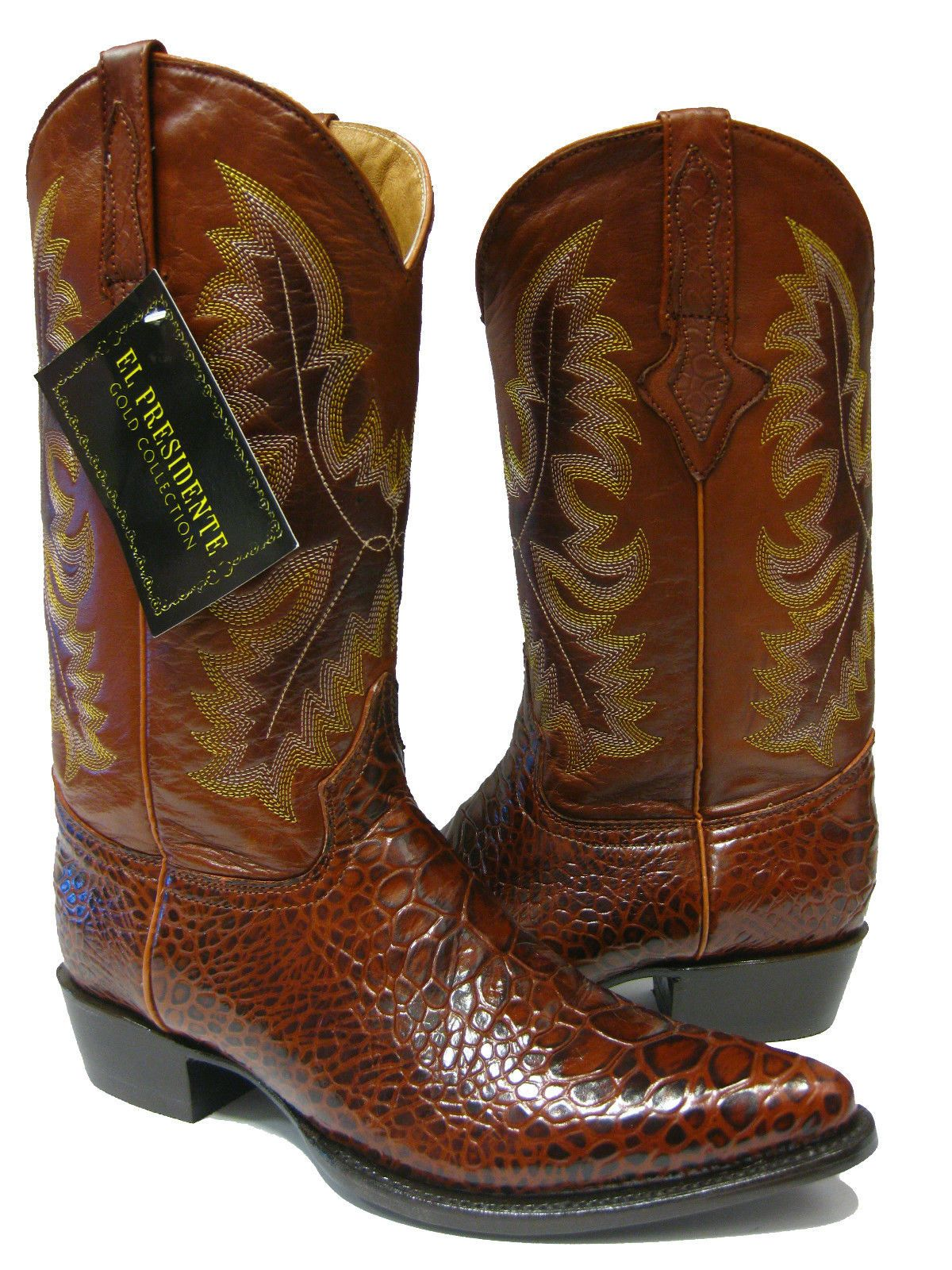 MEN'S COGNAC BROWN LEATHER BELLY Cut CROCODILE ALLIGATOR COWBOY BOOTS