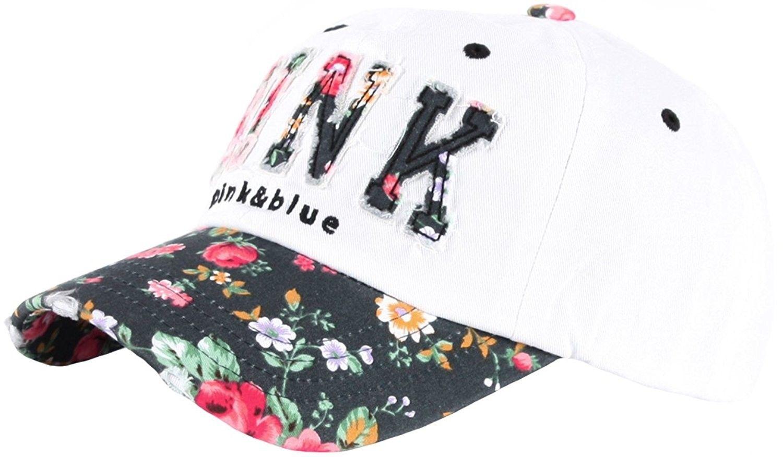 201291b8c2b47 B82 Sexy Women Girl Flower Pink Cute Lady Design Ball Cap Baseball Hat  Truckers - White