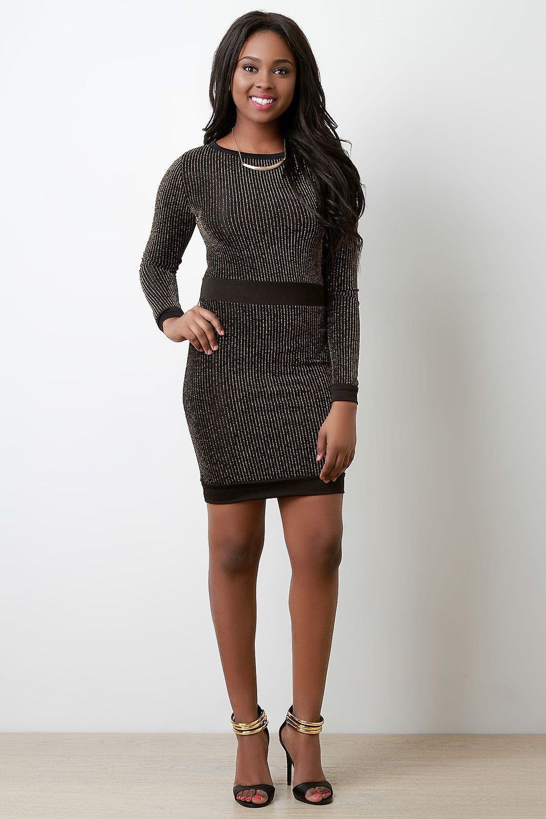Sparkle stripe knit long sleeve dress products pinterest products