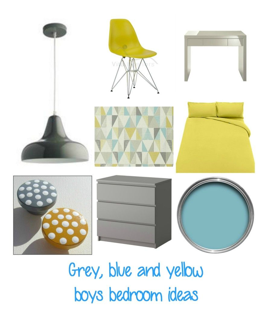 Boys bedroom  Grey, blue and yellow is part of Boys bedroom Grey - Boys bedroom  Grey, blue and yellow colour scheme