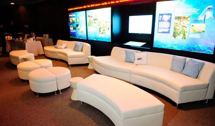 Luna Lighting LED pedestals, LED rectangular bar, and Seville Arm - fresh blueprint furniture rental