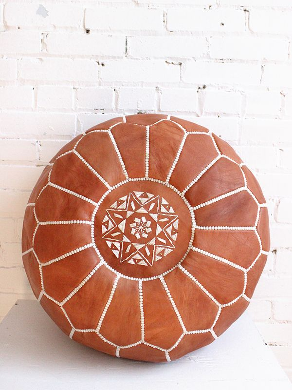 The perfect tan leather Moroccan pouf! From Baba Souk