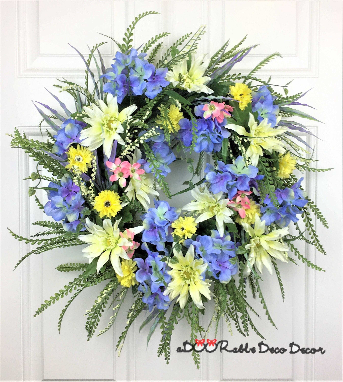 Spring grapevine wreath blue floral wreath blue wreath everyday spring grapevine wreath blue floral wreath blue wreath everyday wreath front door wreath floral wreath summer floral wreath izmirmasajfo