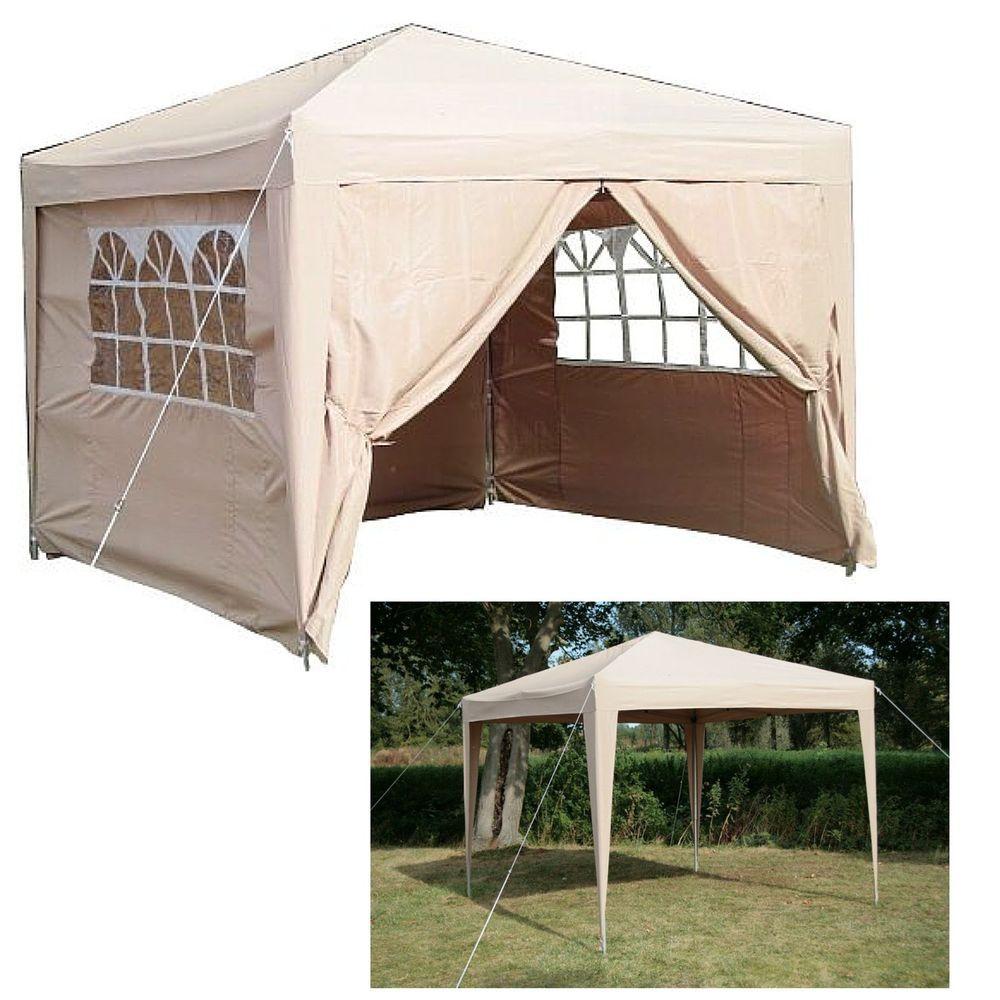 Details About Garden Pop Up Gazebo Folding Waterproof Gazebo Curtains Zipper Windows Camping