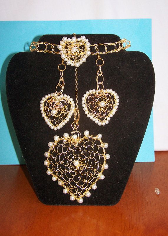 Wire Weaving Handmade Pearl Heart  Set with by BarbsWireCreations, $26.95