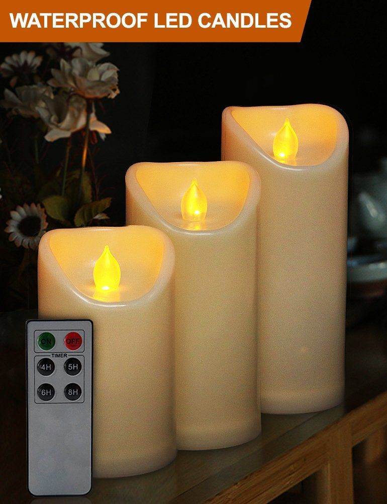 Set of 6 Outdoor 3x6 Waterproof Resin Candles with Timer and Remote and C