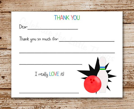 PRINTABLE Bowling Thank You Cards for Kids by DIYCelebrateShoppe - bowling flyer template free