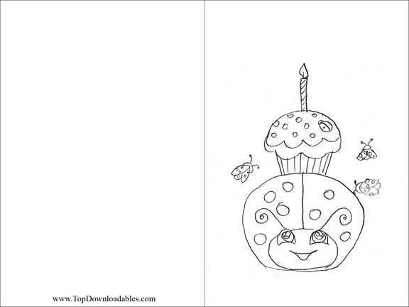 Free Printable Ladybug Decoration Card Coloring Page DIY