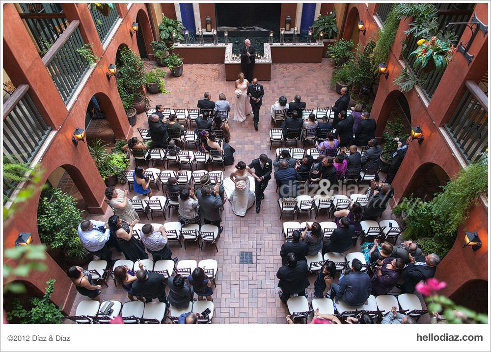 Hotel Valencia Riverwalk Wedding Ceremony Outdoor San Antonio Tx Waterfall
