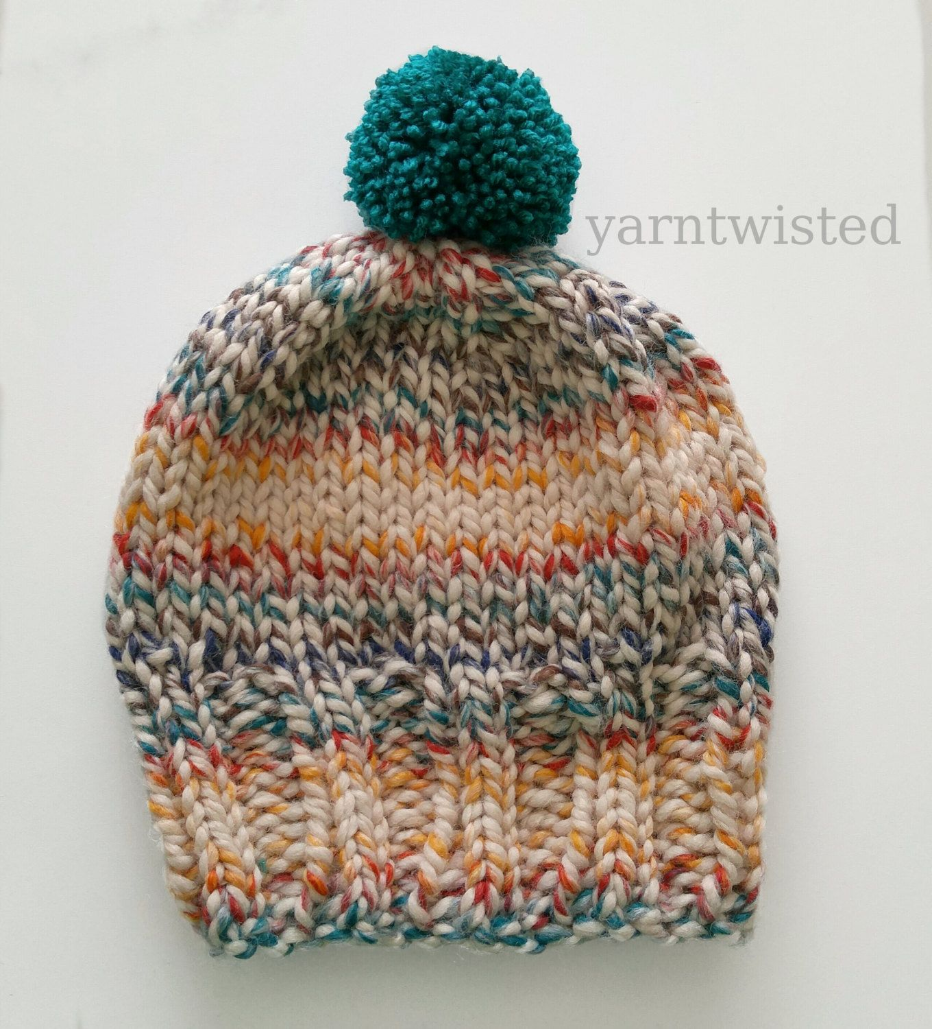Chunky Striped Pom Pom Women's Knit Hat, Fall 2015, Back to School, Hat for Teens, Winter Hat Ski Beanie by yarntwisted on Etsy