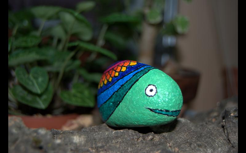 Piedra Pintada - Caracol. Painted Stone - Snail.