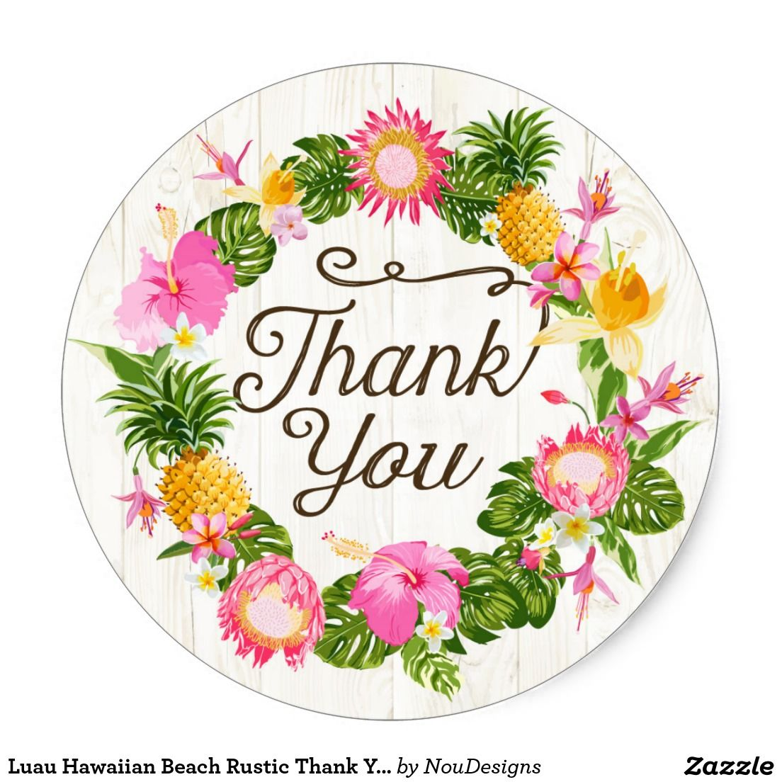 Luau Hawaiian Beach Rustic Thank You Label And Tropical Floral White Wood Background Design