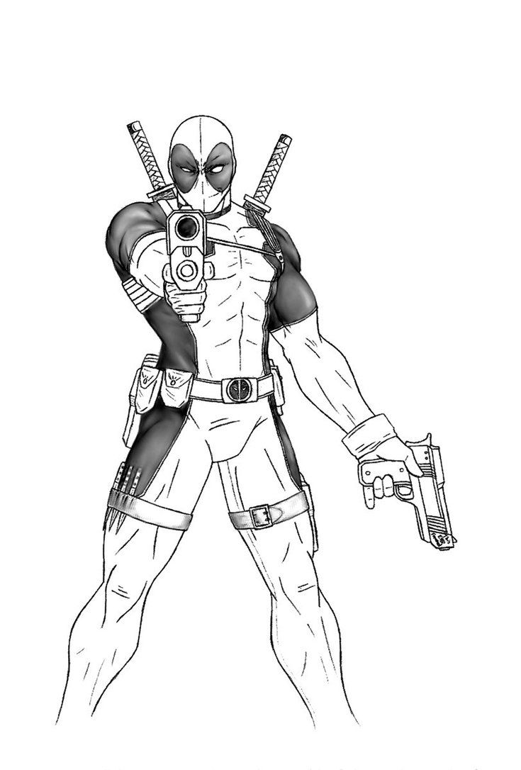 De deadpool drawing pages - Deadpool Full Body Drawing Sketch Coloring Page