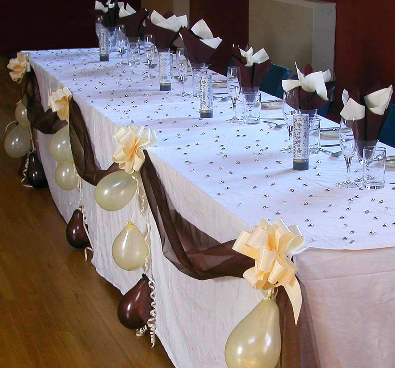 Wedding Top Table Decoration Kit Organza Fabric Swags Pull Bows Balloons