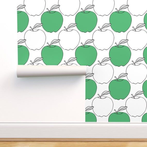 Apple Wallpaper Modern Green Apples Large Scale By