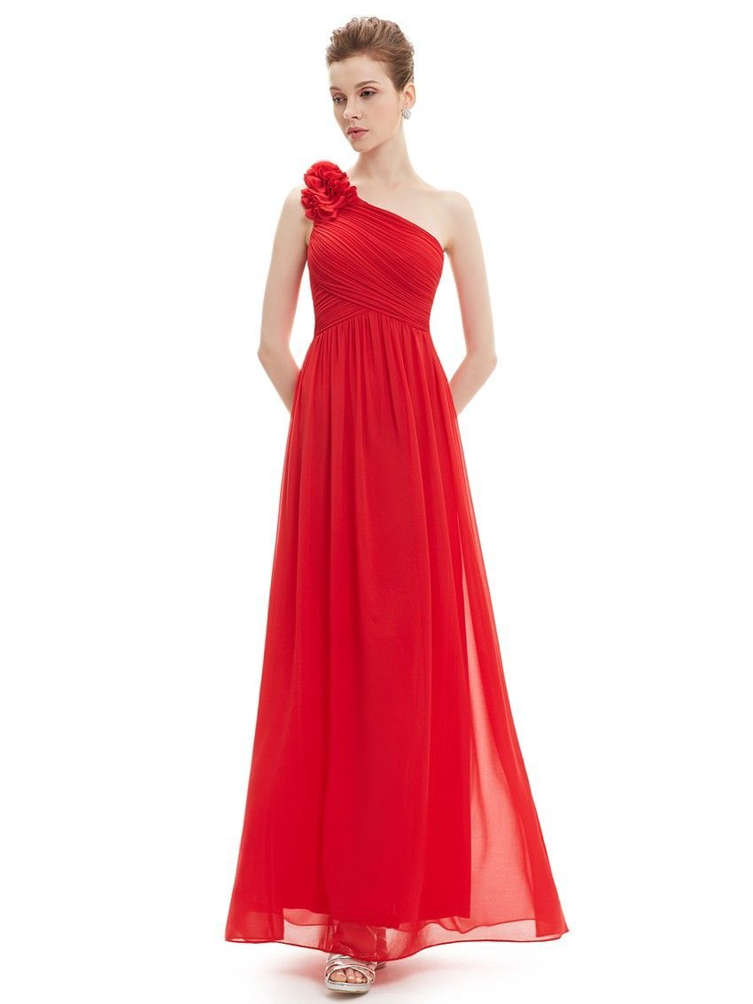 One Shoulder Blumen Abendkleid in Rot ...