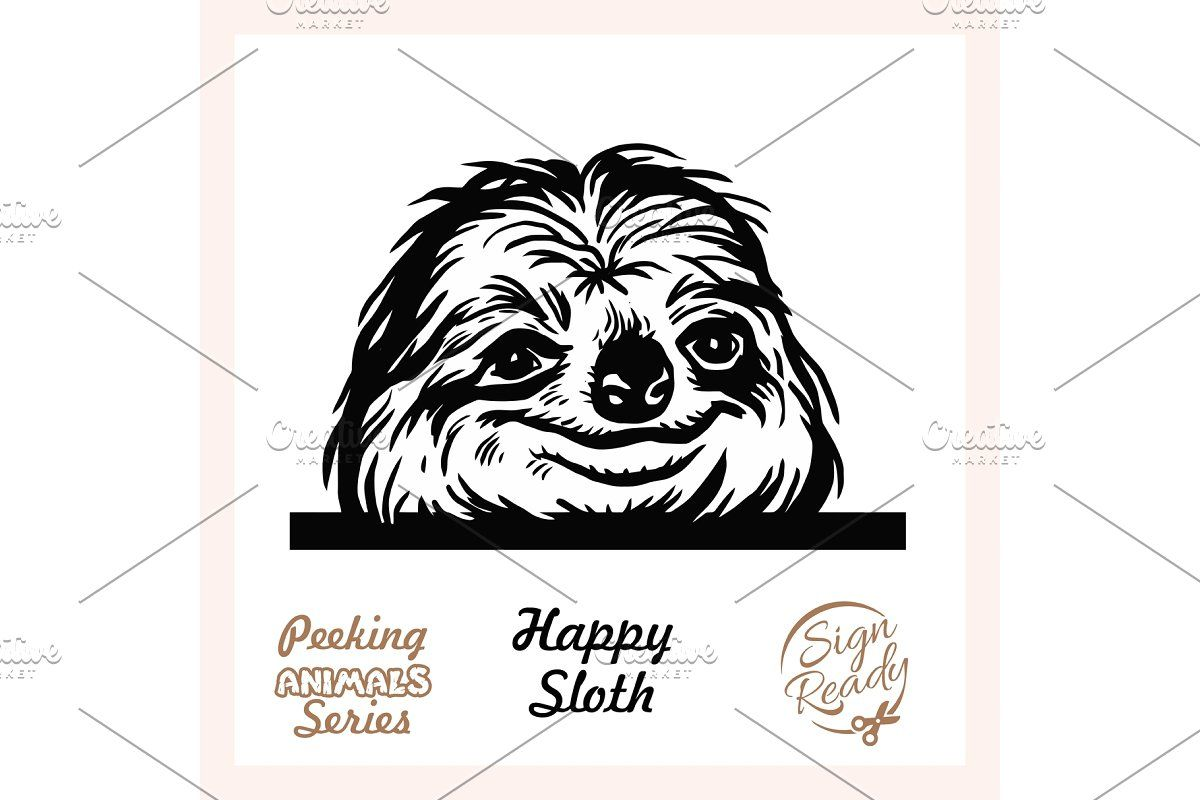 Peeking Funny Sloth Funny Sloth in 2020 Donkey funny