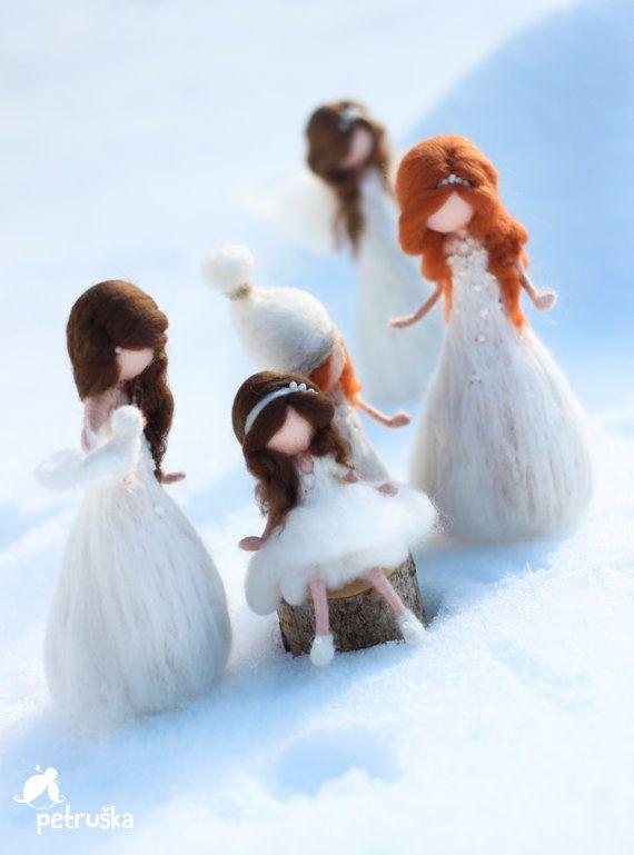Snow, Christmas fairies, needle felted Waldorf inspired fairies, wool felt, white
