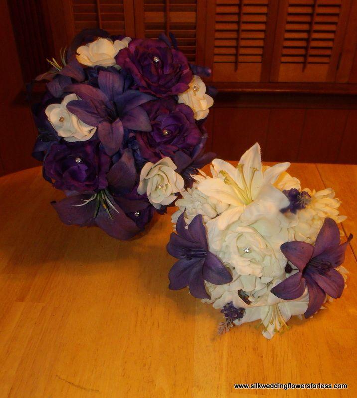 Brides tear shape brides bouquet with 1 bridesmaid bouquet at www.silkweddingflowersforless.com