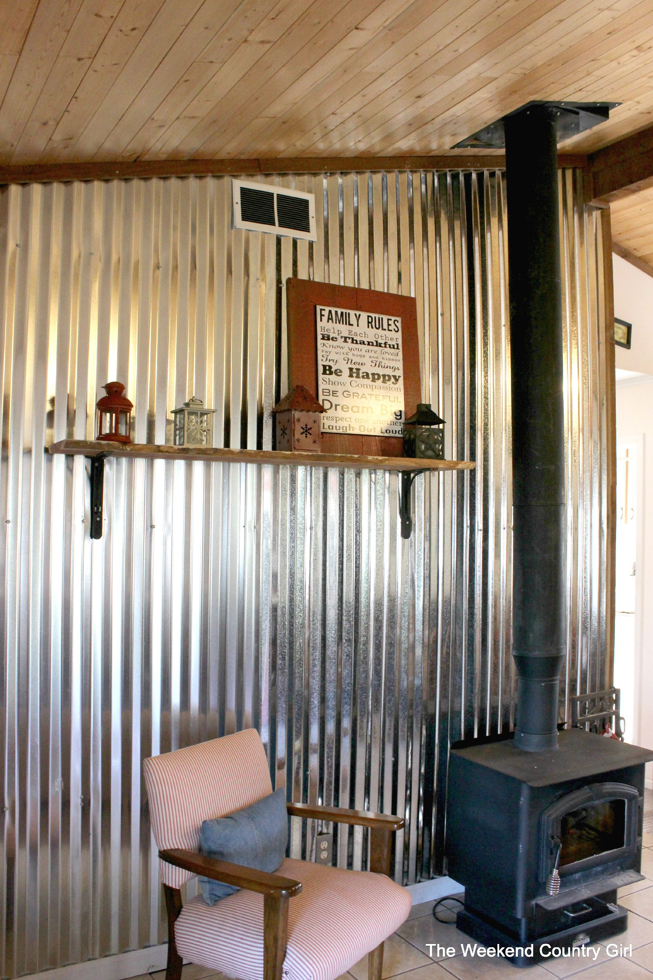 Diy Corrugated Tin Metal Sheet Wall The Weekend Country