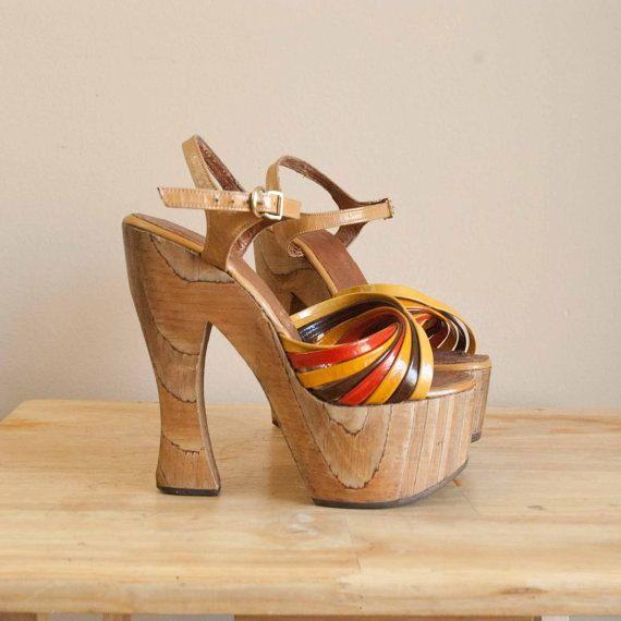 Wood platform shoes, 70s shoes