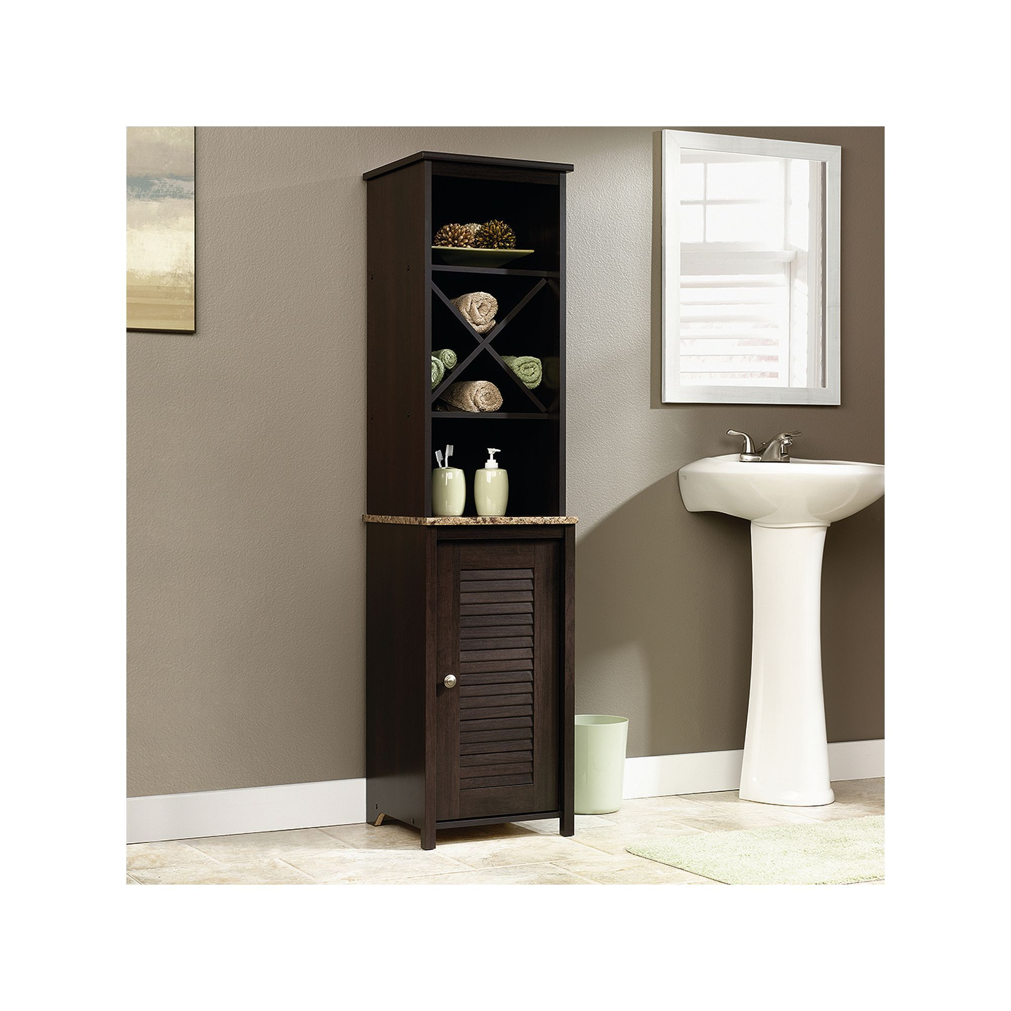 Sauder Peppercorn Linen Tower Bathroom Furniture Linen Cabinet Linen Storage Cabinet