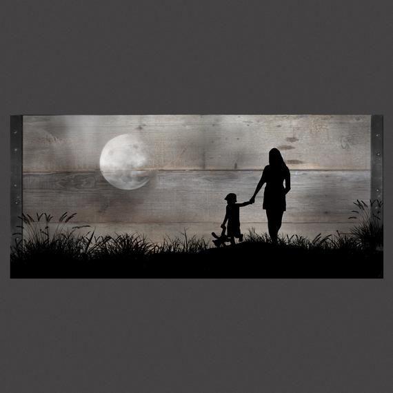 Jugando en la luz de la luna, personalizable madera recuperada pared arte-41 x21 #reclaimedwoodwallart