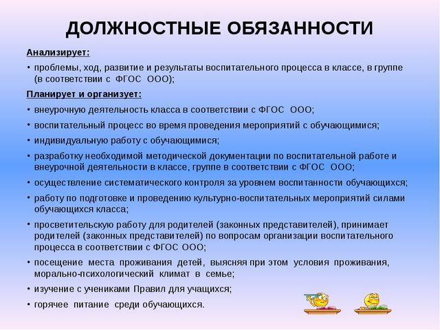 Должностная инструкция руководителя классного руководителя 2018