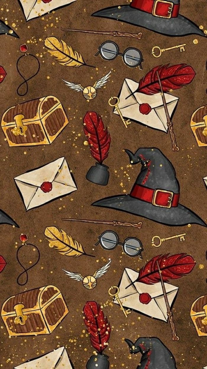 1001 Amazingly Cute Backgrounds To Grace Your Screen Harry Potter Inspired Kawaii Background Magical Objects On A Brown Background Harry Potter Wallpaper Harry Potter Pictures Harry Potter Iphone