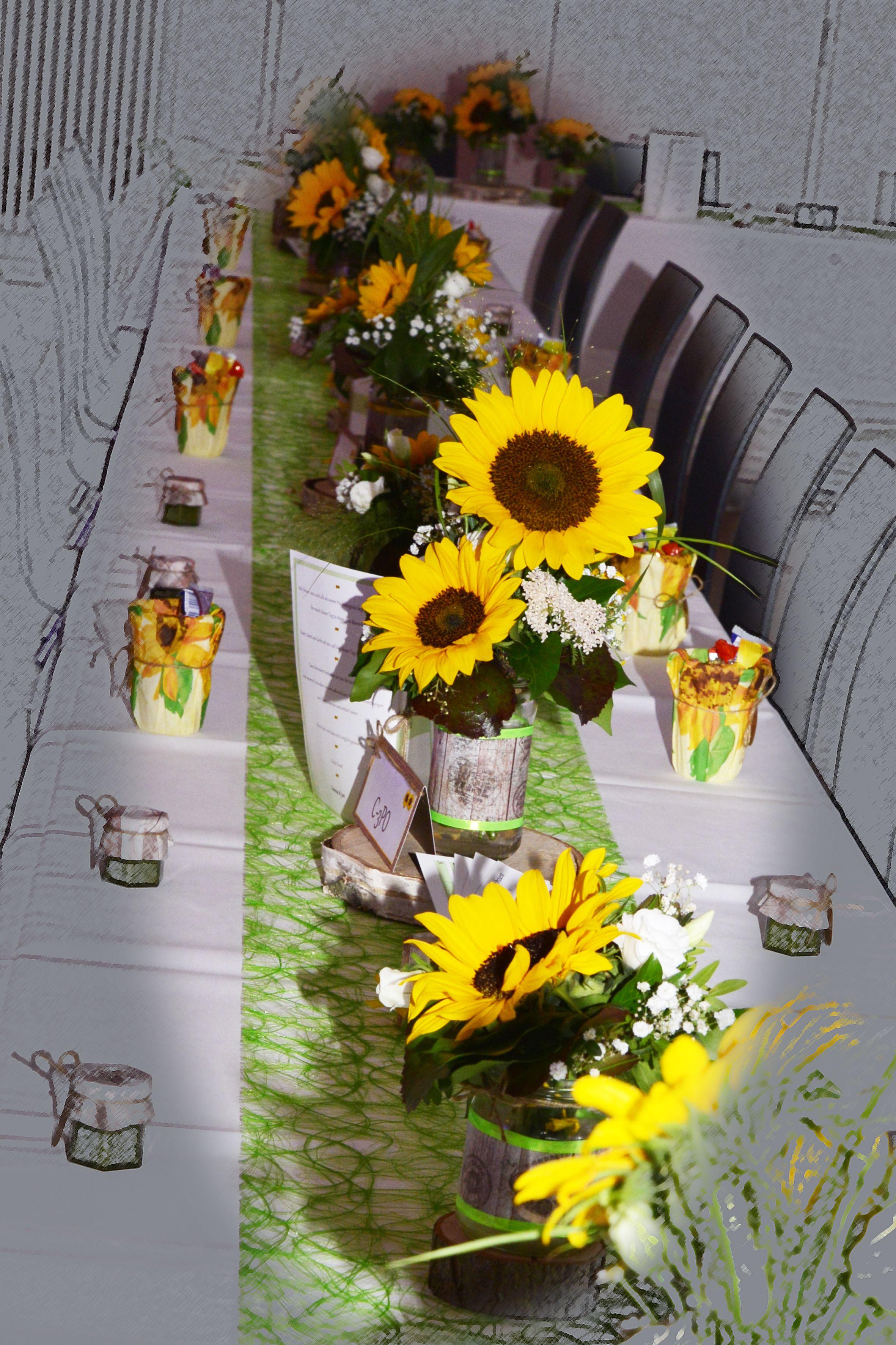 Hochzeit Tischdeko Sonnenblume Gelb Grun Natur Rustikal Hochzeit