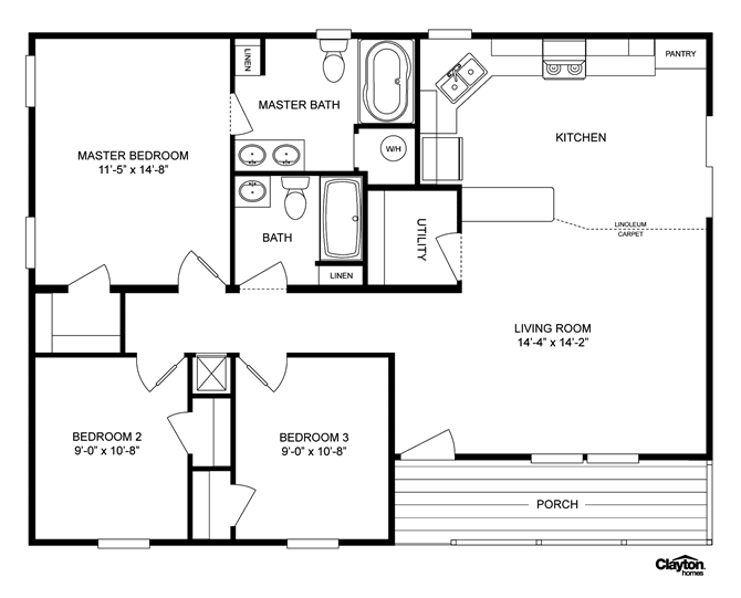 Interactive Floorplan The Lakeview Lvw32403a 34lvw32403ah Clayton Homes Of Paducah Mobile Home Floor Plans House Floor Plans Clayton Homes