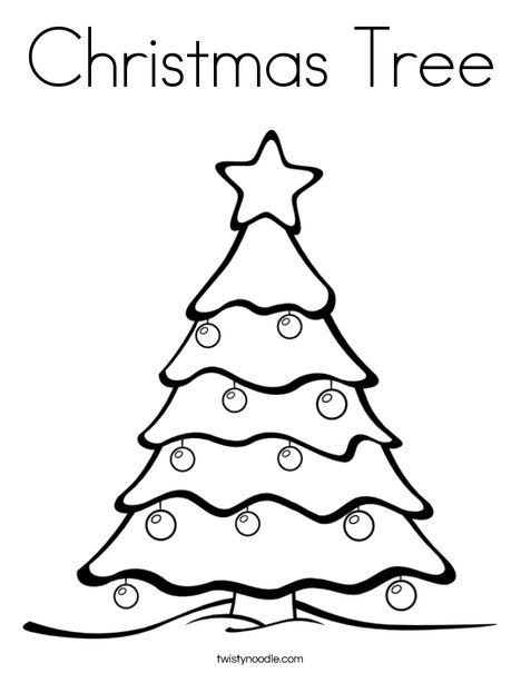 Christmas Tree Coloring Page  Tracing  Twisty Noodle  Christmas