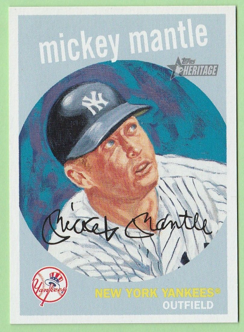 Mickey Mantle 2008 Topps Heritage Insert Mercari In 2020 Mickey Mantle Mantle New York Yankees Baseball