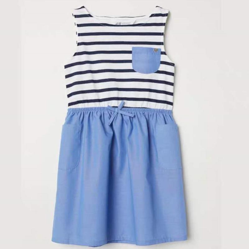 儿童连衣裙 2019年夏季新款女童裙圆领无袖儿童可爱童裙 阿里巴巴 Blue Dress Casual Dresses Kids Clothes Sale