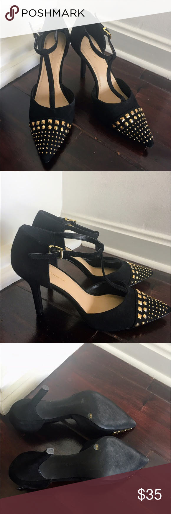 BCBGGeneration black Suede Rhinestone pumps heels Black suede heels with gold rhinestone details. Worn only once and in perfect condition. Buckle closure with loops to keep straps from sticking out. Looks great with a dress or jeans. Only worn this once! BCBGeneration Shoes Heels