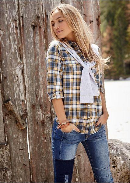 Koszula Flanelowa Z Doszytymi Rekawami Z Dzianiny Dresowej 79 99 Zl Bonprix Fashion Womens Plaid Women S Plaid Shirt