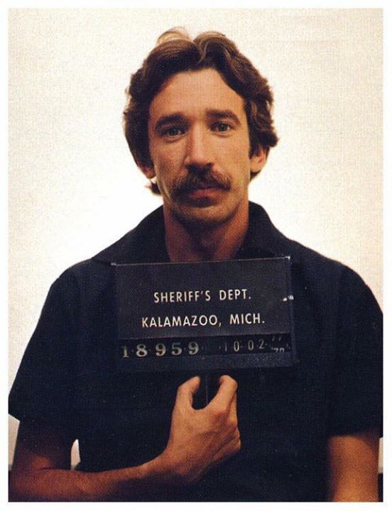 Tim Allenu0027s Mugshot After Being Arrested In 1978 For Possession Of   Presumed  Innocent 1990  Presumed Innocent 1990