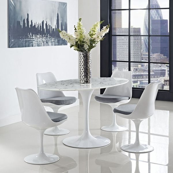 """32 Stylish Dining Room Ideas To Impress Your Dinner Guests: Lippa White Artificial Marble/Metal 60"""" Oval Dining Table"""