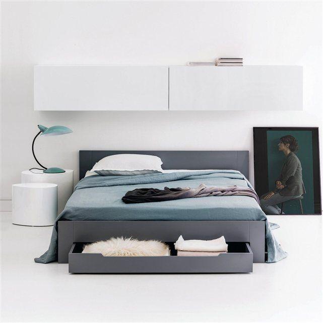 Lit 2 Places Avec Sommier Et Tiroir Crawley Lit 2 Places Idee Deco Appartement Meuble Chambre