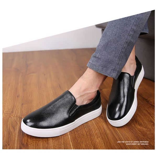 New Men Leather Breathable Casual Flat Loafers Large Size ...