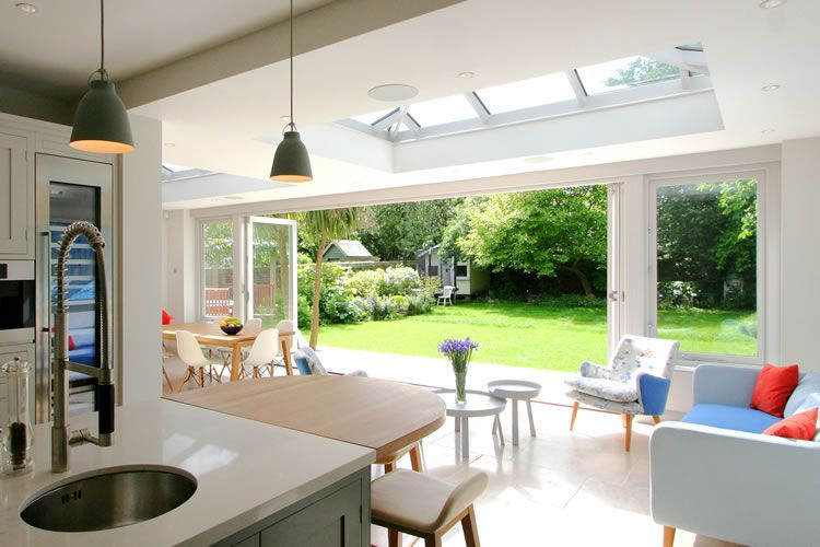 orangery kitchen extension provides dining and living areas in