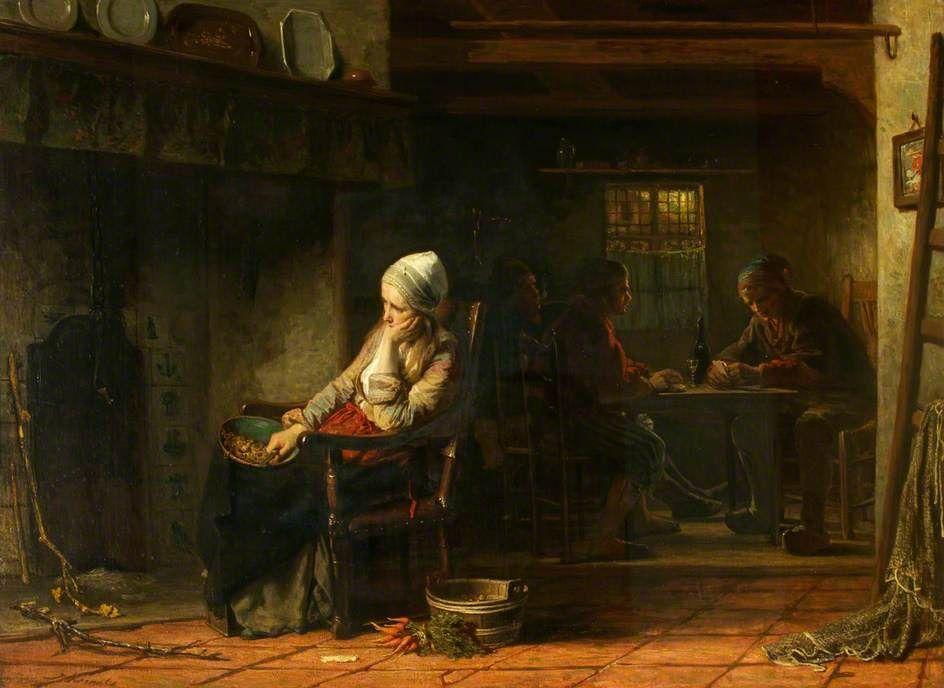 Jozef Israëls - Ongelukkige vrouw; huiselijk leed
