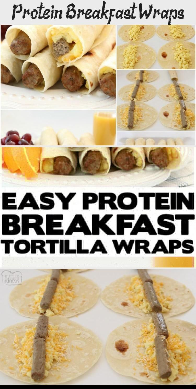 Protein Breakfast Wraps High Protein Breakfast Wraps made with turkey sausage, eggs and cheese wrapped in a fresh tortilla. Easy on the go breakfast that's delicious and & satisfying for everyone! from BUTTER WITH A SIDE OF BREAD