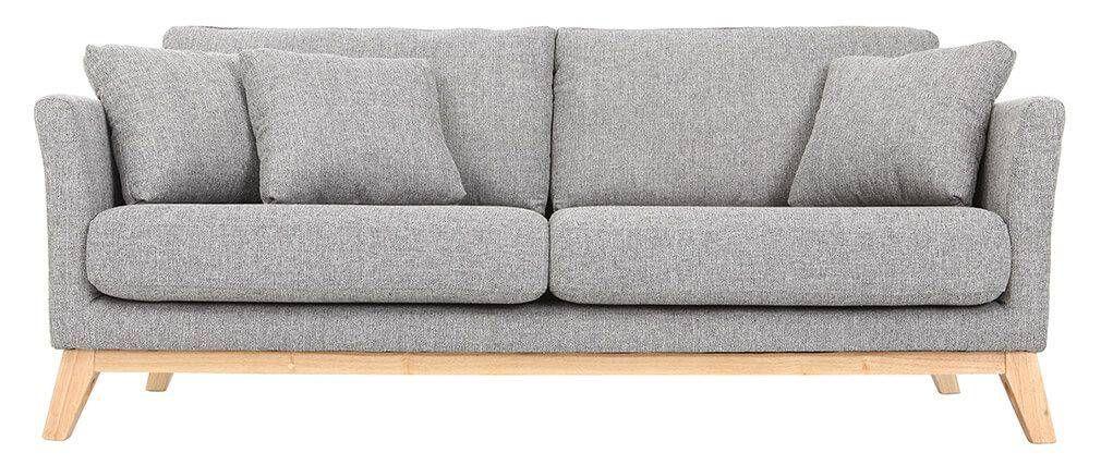Sof n rdico 3 plazas gris claro patas madera oslo sofa for Patas para sillones
