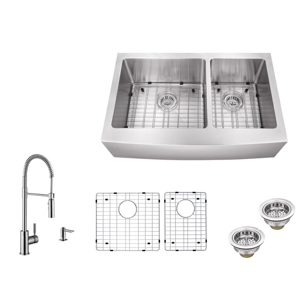 Apron Front 35-7/8 in. 16 Gauge Stainless Steel Kitchen Sink in Brushed Stainless with Pull Out Kitchen Faucet, Brushed Stainless Steel