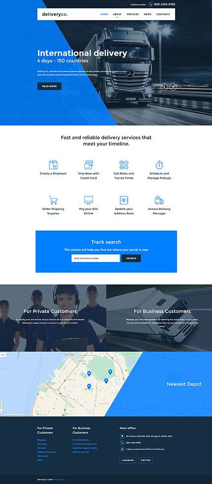 Website Templates Template 58066  Transportation Company Responsive Website
