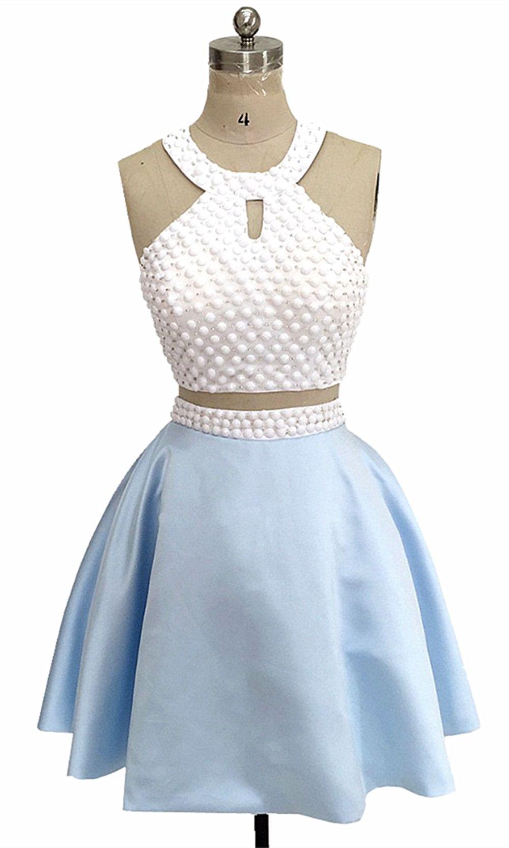 51c1676cb Homecoming Dress 2019 Graduation Dress For Student Blue Short Prom Dress  Two Pieces Evening Dress  zhuetsydress wedding party dress for bridesmaid