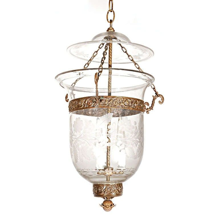 Antique Clear Glass Bell Jar Hall Lantern 1 850 00