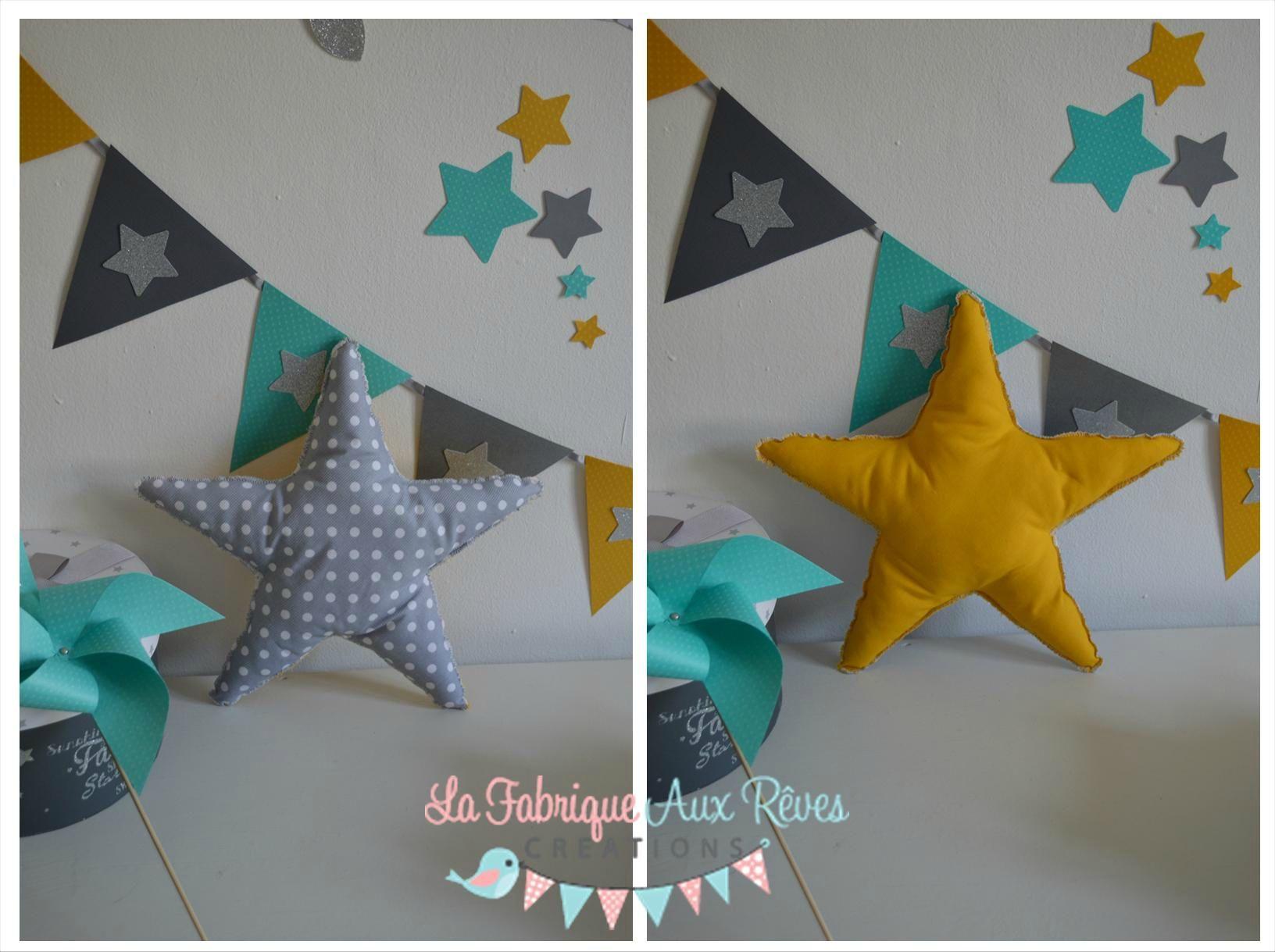 coussin étoile gris jane moutarde - décoration chambre enfant bébé ...