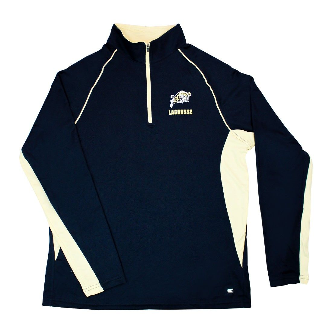 Lacrosse Unlimited Exclusive Design Navy Midshipmen Lacrosse 1/4 Zip Long Sleeve Adult athletic-cut construction of 100% polyester